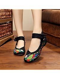 YQQ Bleu, blanc, porcelaine, brodé, chaussures, tendon, sole, ethnique, style, femaleshoes, mode, confortable , white , 36
