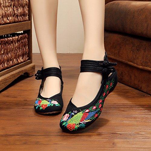 Y&M Gestickte Schuhe, Sehnensohle, ethnischer Stil, Femaleshoes, Mode, bequem, Tanzschuhe , navy blue , 36