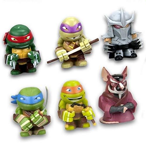 TMNT Tortugas Ninja Turtles Conjunto Completo 6 Figuras Shredder Splinter Astilla 4cm Teenage Mutant Turtle Nickelodeon Gashapon Serie 1