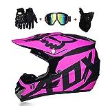 LEENY Motocross Helm Herren Crosshelm mit Brille Handschuhe Maske, Motorradhelm DH Enduro Downhill Dirt Bikes ATV MTB BMX Quad Motorrad Offroad-Helm für Erwachsene Männer Frauen,Matte*Pink,XL