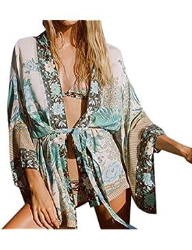 Cinnamou Blusa floral de la rebeca de Bohemia de las mujeres, Gasa Ropa de playa Kimono Camisa Cover Ups Tops