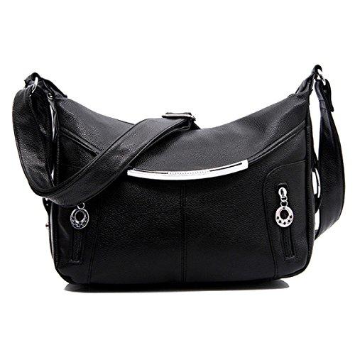 Art Und Weise PU-Leder-Umhängetasche-Handtaschen-Schulter-Schularbeit Beutel Für Frauen Multicolor Black