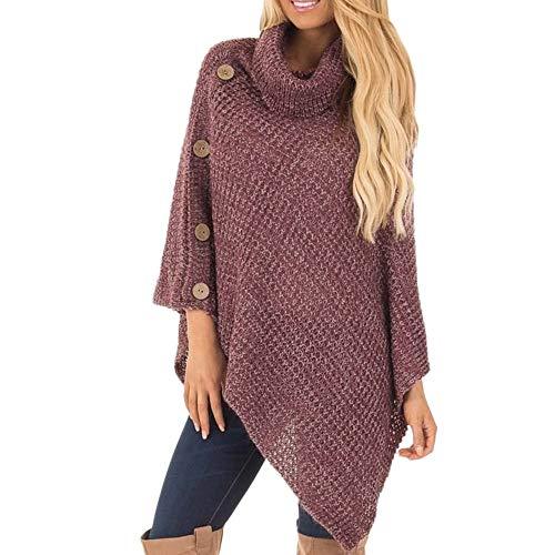 Osyard maglione felpa donna, donna dolcevita maglia poncho con bottone irregolare orlo pullover elegante manica lunga invernale cardigan sciolto camicie(s, rosso)