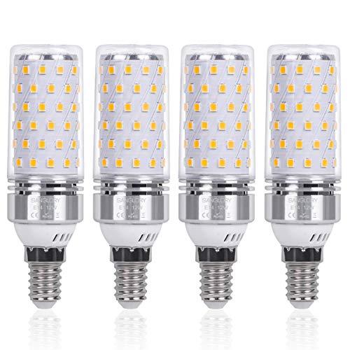 E14 Maiskolben Led Lampe 12W E14 Led Mais Birne Warmweiß 3000K 1350LM Entspricht Glühbirnen 100W Nicht Dimmbar Energiesparlampe Kleine Edison-Schraube Kerze Leuchtmittel E14 von SanGlory(4er-Pack)