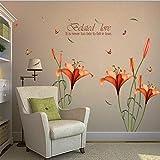Dragon868 adesivi murali Grande Fiori Lilly Fai da Te Adesivi Murali Cameretta Cucina Salotto Home Decor (Giallo)