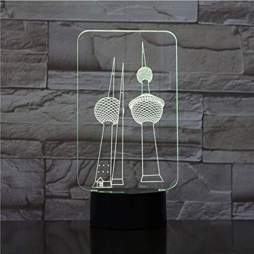 Zwei Türme RGB 3D Nachtlicht USB LED Tischlampe Birne 7 Farbwechsel Liebhaber süße Freundin Geschenk Drop Lieferung Tür zu Tür