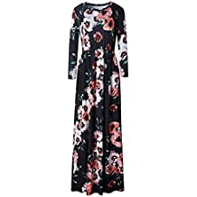 Beauty7 Vestido Largo Boho de Cuello Redondo de Manga Larga Estampado Foral Pocket Casual Vintage Maxi