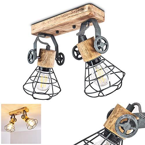 Lámpara de techo Nifun, de metal/madera en Gris/Marrón, 2 llamas, con focos...