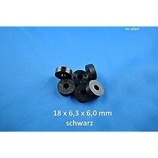 100 Stück Distanzstücke 18 x 6,3 x 6 schwarz aus Kunststoff Unterlegscheiben Abstandhalter Polyamid Unterlegscheiben…