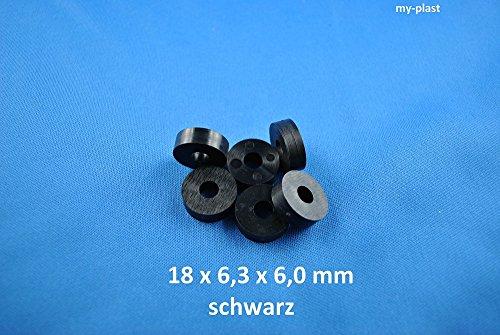 100 Stück Distanzstücke 18 x 6,3 x 6 schwarz aus Kunststoff Unterlegscheiben Abstandhalter Polyamid Unterlegscheiben...