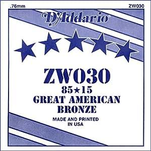 D'Addario ZW030 Acoustic Guitar String, Single 85/15 Bronze Wound, 0.030 Gauge