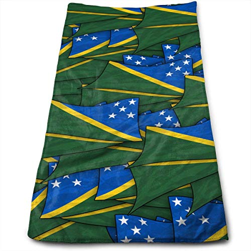 dfegyfr Solomon Islands Flag Wave Collage Face Hand Towels Microfiber Sport Towels for Sports, Hair Care, Cosmetology, Cleaning 27.5 X 12 inch.