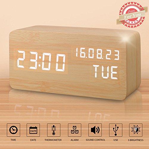 LED Digital Wecker Modern Holz Wecker Tischuhr mit Uhrzeit/Datum/Woche/Temperatur Anzeige,Einstellbare Helligkeit Sound Control-Schreibtisch-Wecker für Heim und Büro (Braun)