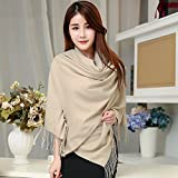 Scarf Women Winter All Match Students Thick Imitation Wool Cashmere long Shawl 2 Function Winter Pure Color , nude