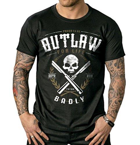 Badly Outlaw for Life T - Shirt Biker Tattoo Gothic Schwarz