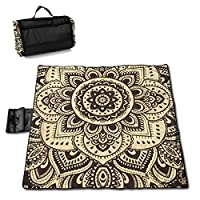 """MZZhuBao Boho Mandala Style Folding Portable Picnic Blanket 57"""""""" x59 Outdoor Water Resistant Sand-Proof Beach Blanket Mat with Tote Bag for Family Hiking Travelling"""