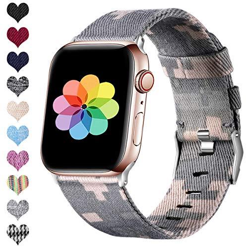 HUMENN Kompatibel mit Apple Watch Armband 38mm 40mm 42mm 44mm, Ersatzgewebe Band Nylon Sport Armband mit Rostfreier Metallschnalle für iWatch Serie 4 3 2 1, Camo 42mm/44mm