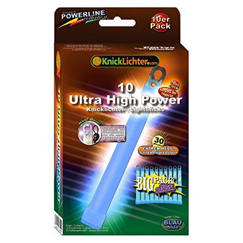 10 Ultra High Power Knicklichter BLAU! Extrem hell. Extra dick. 150x15mm. Im BIG Sparpack. Neueste Generation. Unter eigenem Label produziert. -