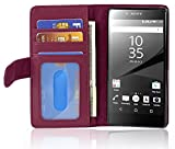 Cadorabo Hülle für Sony Xperia Z5 Premium - Hülle in Bordeaux LILA – Handyhülle mit 3 Kartenfächern - Case Cover Schutzhülle Etui Tasche Book Klapp Style
