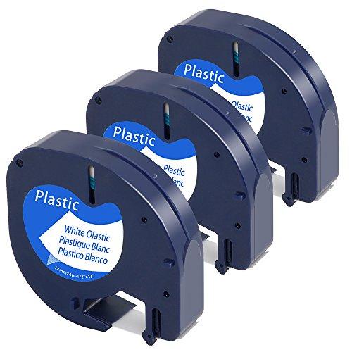 3x Kompatibel LetraTag Kunststoff Klebeband 91201 für Dymo LetraTag LT 100T Lt-110t QX 50 XR XM 2000 Plus Schwarz auf Weiß 12mm 4m