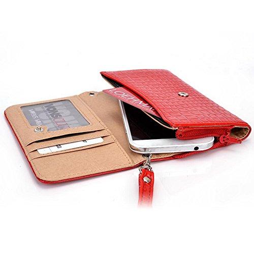 Kroo Croco Étui portefeuille universel pour smartphone avec bracelet en titane pour Archos 45Titanium/40/40Césium Mobile rouge - rouge rouge - rouge