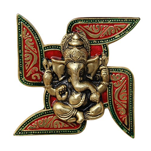 Handicrafts Paradise Ganesha Placed on Swastik Aluminium Metal Wall Hanging (18.5 cm x 3.8 cm x 18.5 cm),Multicolor 51QWjkFuHQL