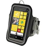 iGadgitz Schwarz Reflektierende Anti-Rutsch Neopren Sportarmband für Nokia Lumia 520530Windows Smartphone Handy