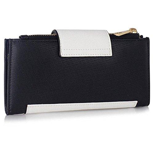 LeahWard® Genuine Kunstleder Geldbörsen Brieftaschen Mode nett Groß Geldbörsen Tasche Schwarz/Weiß 1079
