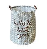 EchoFun Baumwolle faltbare Print behindern großer Korb zylindrisch Schrank Lagerung waschen Wäschesack mit Griffe 40 x 50cm