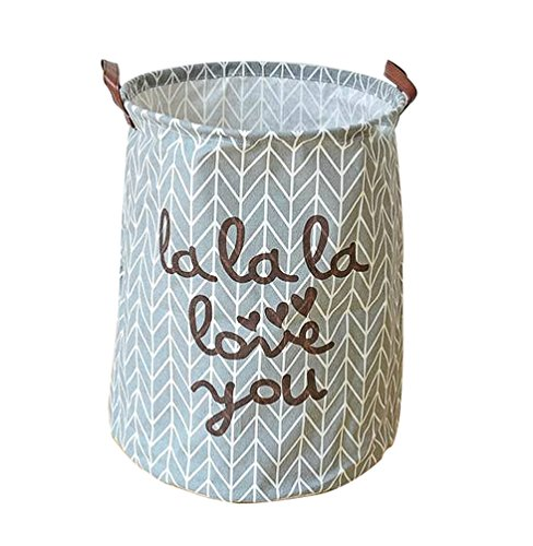 EchoFun Baumwolle faltbare Print behindern großer Korb zylindrisch Schrank Lagerung waschen Wäschesack mit Griffe 40 x 50cm (Holz-wäscherei Weiße Behindern)