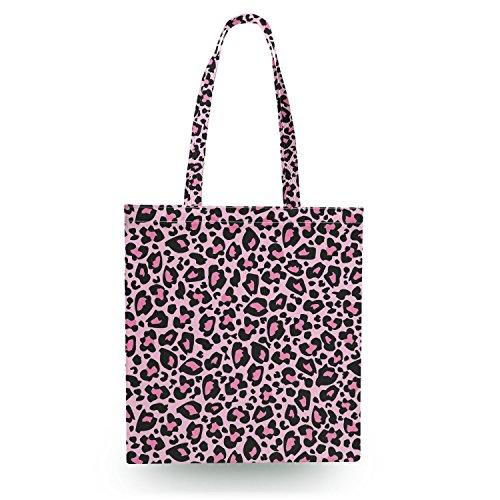 Queen of Cases Bright Leopard Print Pink - Zipper Canvas Tote Bag - Canvas Tote Bag Shopper Tragetasche (Tote Print Leopard)