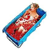 Badewannen ohne Belüftung Faltbare Badeeimer Erwachsene Kinderbecken Groß Isolierung Blau (Color : Blue, Size : 108 * 54 * 51cm)