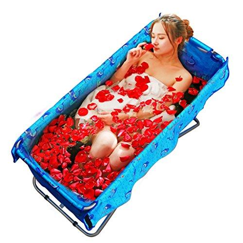 Badewannen ohne Belüftung Faltbare Badeeimer Erwachsene Kinderbecken Groß Isolierung blau (Color : Blue, Size : 124 * 56 * 54cm)
