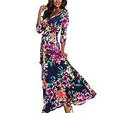 VEMOW heißer Verkauf Sommer Herbst Neue Mode Damen Camisole Langarm V-Ausschnitt beiläufige tägliche Partei Strand Mini Dress Button Mode Kleid(Marine 3, EU-50/CN-L)
