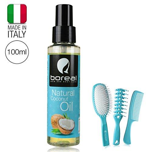 Olio di cocco spray per capelli. protezione da sole, salsedine e zolfo. ideale per chi va alle terme o in villeggiatura. olio di cocco 100 ml, 2 spazzole, un pettine