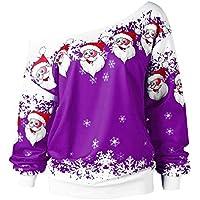¡Gran promoción!★Rovinci★ Mujer Manga Larga Originales para Navidad Personalidad Fuera del Hombro Santa Claus Impresión Cuello Redondo Moda Casual Tops Jersey Blusa Camiseta Sudaderas
