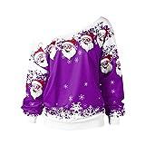 IZHH Damen Tops Mode Frauen Frohe Weihnachten Weihnachtsmann Print Skew Kragen Sweatshirt Bluse Weihnachten Weihnachtsmann Diagonale Kragen Print Top Sweatshirt(Hot Pink,X-Large)
