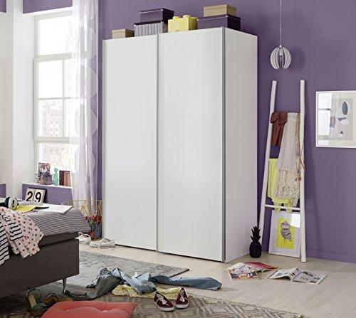 Express Möbel 34106000-070 Budget 2 2-türiger Schwebetürenschrank, Holzdekor, Weiß, Tiefe 48 cm