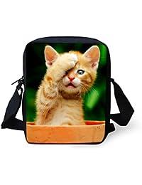LedBack Animals Messenger Bag For Girls Cute Cat Handbag Women Travel Cross Body Bag