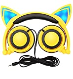 Limson Over Ear Cuffie per Bambini, Cuffie Cablate Pieghevoli con Luce LED Lampeggiante per Bambini, 3,5 Jack per PC, Tablet, iPhone, Smartphone Android (Giallo)