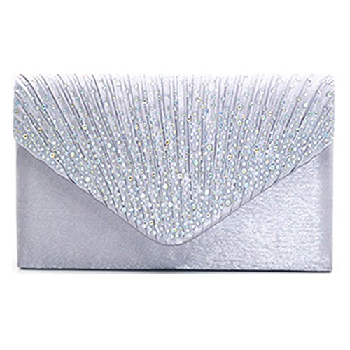 Highdas frizione della busta borsa a tracolla moda donna Cluthes C3 Argento