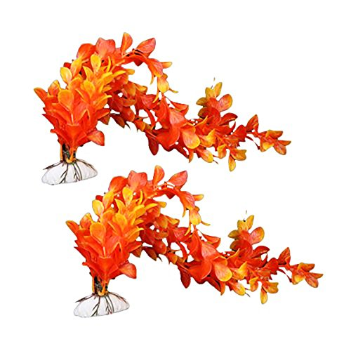 Unicoco 2pcs 36cm Naranjas Plástico Acuario Plantas