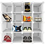 ASAB 16 Pair Shoe Organiser Interlocking Plastic Panel Storage Shelf With Reinforced Steel Frame Display Stand Cube Frame Rack Rigid Pigeonhole