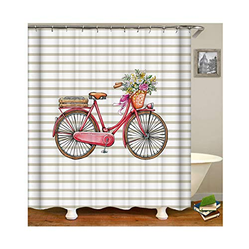 KnSam Anti-Schimmel Wasserdicht Duschvorhang Inkl. 12 Duschvorhangringen Fahrrad Mit Blumen Vorhänge An Badewanne Bad Vorhang für Badezimmer 150 X 200 cm (Das Kostüm Land Bewertungen)