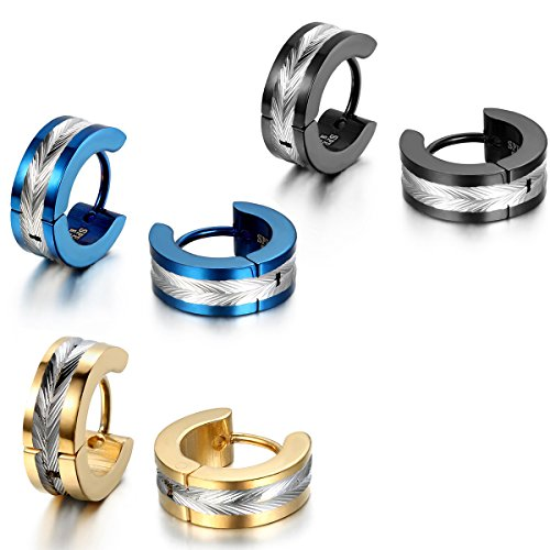 JewelryWe Schmuck 3 Paare Herren Ohrringe, Edelstahl, Glänzend Poliert Creolen Ohrstecker, Blau Schwarz Gold Silber