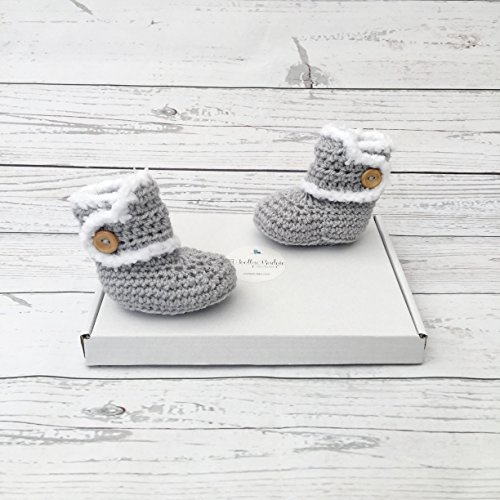 crochet baby booties grey newborn gift, winter boots