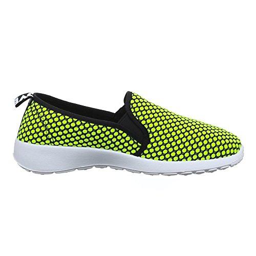 Damen Schuhe, C20-4, HALBSCHUHE SLIPPER FREIZEITSCHUHE Neongelb