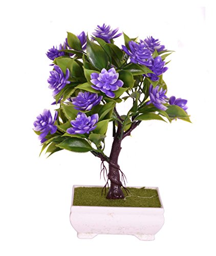 Pindia Artificial Purple Flower Plant with Pot for Home and Office Decor (15x9x23, cms)