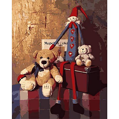 (MNS9516 Teddybär DIY Malen Nach Zahlen Wanddekoration Kunstwerk Mit Rahmen 40X50Cm)