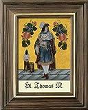 Hinterglaswerkstätten - Hinterglasbild / Patronatsbild Hl. Thomas Morus mit braun gebeizten Holzrahmen, handbemalt mit